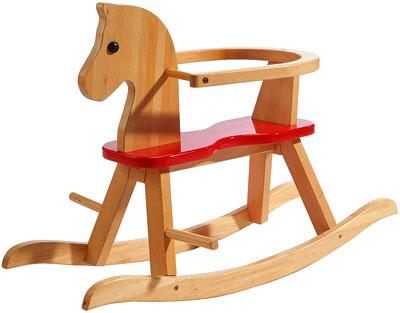 Caballito balancín de madera con cierre de seguridad para bebé